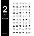 simple line icons new york vector image vector image