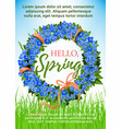 spring poster holiday crocus flowers wreath vector image