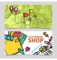 Stationary supply map pointers banners set vector image vector image