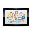 tablet computer and application button vector image vector image