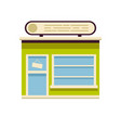 the front of the store is green with a big sign vector image vector image