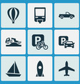 transport icons set with parking velocipede vector image