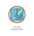 Window line icon logotype design templates vector image
