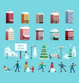 winter city icons set vector image