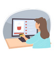 woman buying alcohol online in website vector image vector image