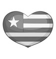 independence day heart icon monochrome vector image