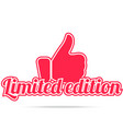 limited edition label red color isolated on vector image