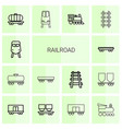 14 railroad icons vector image vector image