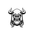 ancient viking head silhouette vector image vector image