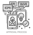 Approval process line icons vector image