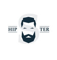 bearded hipster emblem vector image vector image