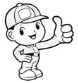 black and white soldier mascot best gesture vector image vector image