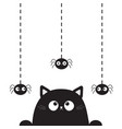 black cute cat kitten face head looking on hanging vector image
