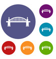 bridge icons set vector image vector image