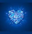 broken diamond heart crystal vector image vector image