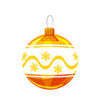 christmas ball yellow gold white colour vector image vector image