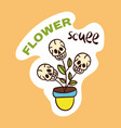 colorful flower pot with dead skulls sticker vector image vector image