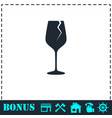 cracked glass icon flat vector image vector image