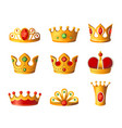 crowns - realistic set of royal headgear vector image vector image