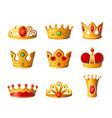 crowns - realistic set royal headgear vector image