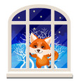 cute cheerful smiling fox looks out through the vector image