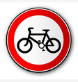 cyclist road traffic sign vector image vector image