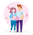 dad mom carrying bacartoon characters family vector image