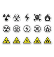 Danger risk warning icons set vector image vector image