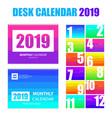 desk calendar 2019 vector image