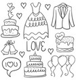 doodle of wedding element style collection vector image vector image