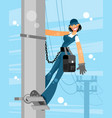 electrician woman on sky background vector image vector image