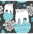 Endless background with white bear on the ice vector image vector image