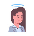 female head with nimbus emotion icon isolated vector image vector image