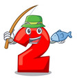 fishing cartoon cake birthday candle number two vector image