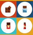 flat icon sweet set of bitter chocolate bar vector image vector image