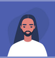 flat portrait a young bearded male vector image vector image