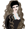 Goth girl with long wavy hair vector image