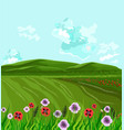 green fields spring background decor vector image