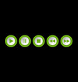 green white round music control buttons set vector image vector image
