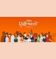 group teens in halloween costume concept vector image