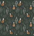 hand drawn seamless pattern with cute ducks in a vector image