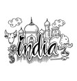hand drawn symbols of india vector image