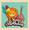 happy birthday card with cute lion vector image