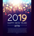 happy hew 2019 year fileworks lights and bokeh vector image vector image