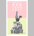Happy new year 2017 card with rooster 11 vector image vector image