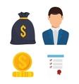 icon agent insurance set design vector image