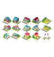 isometric set town infrastructure vector image vector image
