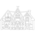 line art with beautiful european medieval house vector image
