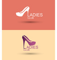 logo women shoe stylized Concept for a womens Club vector image