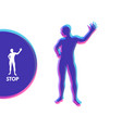 man with hand up to stop human showing stop vector image